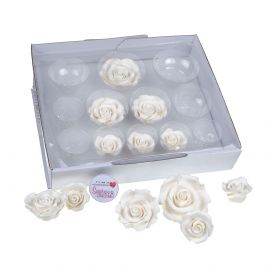 SugarSoft 12 Edible Assorted White Roses