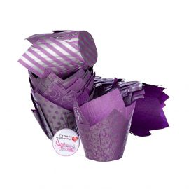 Tulip Muffin Wraps PURPLE AND SILVER Pack of 50