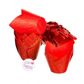 Tulip Muffin Wraps RED AND GOLD Pack of 50